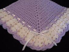 NEW Handmade Crochet Baby Blanket Afghan (Lt. Lilac and White)