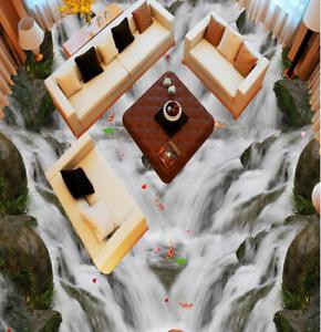 3D Fishs Waterfall 64 Floor WallPaper Murals Wall Print 5D AJ WALLPAPER UK Lemon