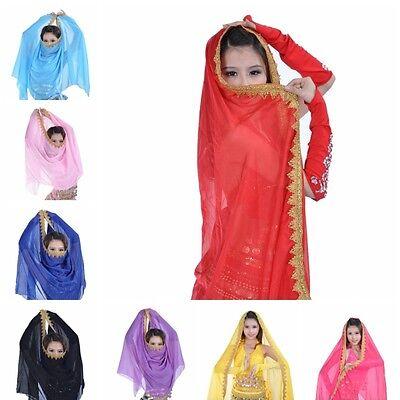 Chiffon Belly Dance Veil Shawl Women Scarf Gold Trim Headscarf Bollywood Costume