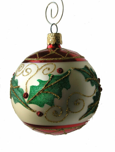 """Single or 6 Pack Holly Leaf Hand Blown Glass 3/"""" Ball Christmas Ornament"""