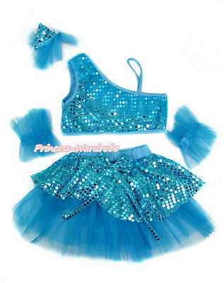 Peacock Blue Sequins Ruffles Top Girl Ballet Tutu Skirt Costume Dance Dress 1-8Y