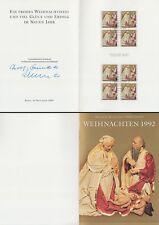 Klappkarte Weihnachten 1992, Postdienst, Fachb. PWZ (2 Viererblocks MiNr.1640)