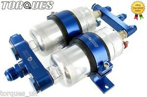 Twin-Bosch-044-Fuel-Pump-Billet-Aluminium-Assembly-AN-6-AN-8-or-AN-10-In-BLUE
