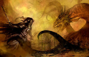Details about Framed Print , Knight Fighting a Sea Dragon (Fantasy Gothic  Picture Poster Art)