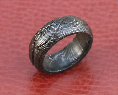 Custom  DOME Tidal Hammered Damascus Men/'s Band Men Engagement Ring SIZE 11.5