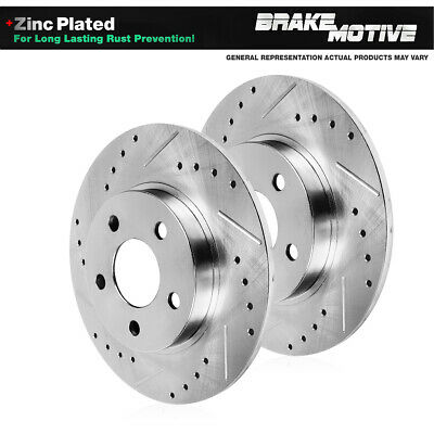 5lug For: Ford Lincoln 2 Silver Drilled Rotors 4 Ceramic Pads Rear Kit