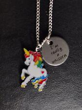 """Precioso """"estoy realmente un unicornio 'Collar 18"""" Plata Plateado Cadena Regalo encanto de esmalte"""
