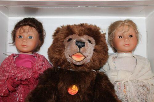 Steiff 703157 Puppen-Set Schneeweißchen und Rosenrot mit Bär selten