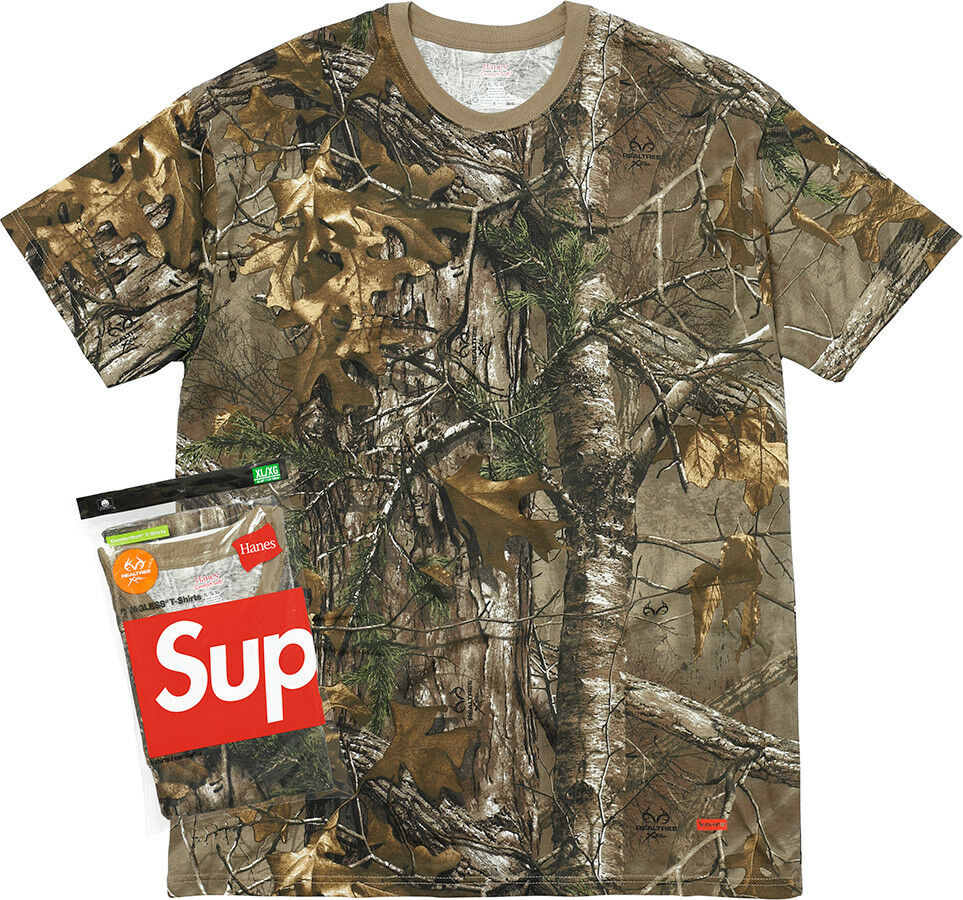 Supreme FW17 Hanes® Realtree® Tagless Tees 2 Pack BOX LOGO SHIRT CLASSIC CAMO DS