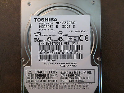 1.5Gp//s 120GB SATA 2.5 HDD Toshiba MK1234GSX 5400RPM