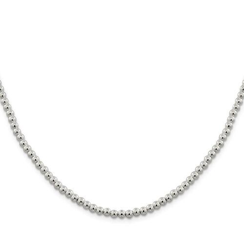 Sterling Argent 4 Mm Perles Boîte Chaîne Collier QK33