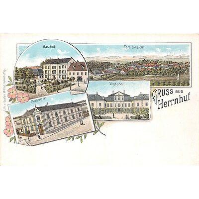 AK Lithographie Gruss aus Herrnhut Gasthof Vogtshof Totalansicht Museum
