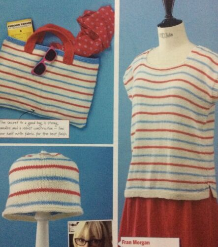 "32-46"" Bust Sizes S-XL Ladies Short Sleeved Stripy Top DK KNITTING PATTERN"