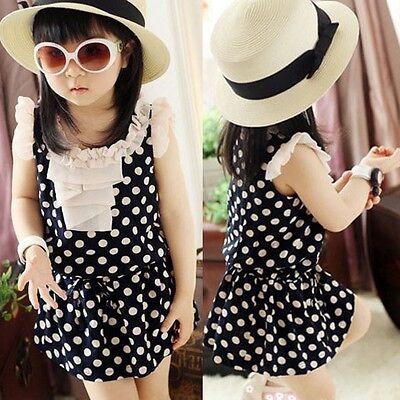 Girls Kid One Piece Princess Dress Skirts Chiffon Dots Ruffled Sundress Clothes