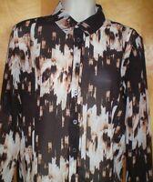 NWT NEW womens ladies size S XS brown khaki tan DEREK LAM l/s blouse shirt $48