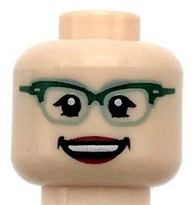 LEGO Minifigure Head LIGHT FLESH Female Dual Sided Glasses Peach Lips Smiling