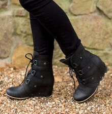 SOREL 'Joan of Arctic' Leather Wedge Boots Black US 9