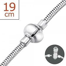 Solid 925 Sterling Silver 3mm Snake Bead 19cm Charm Bracelet 8.4g Snap Lock Gift