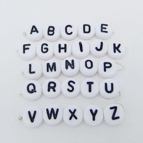 100Pcs Spacer Acrylic Beads DIY Cube Making Loose Random Alphabet Jewelry Letter