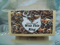 Camouflage Wedding Camo Ring Bearer Pillow Box Wood Deer Hunt Hunting Redneck