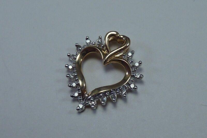 10K Yellow & White gold Heart Shaped Pendant with Diamonds