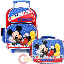 "Disney Mickey Mouse 16"" School Roller Backpack with Lunch Bag Set - Mickey Stars"