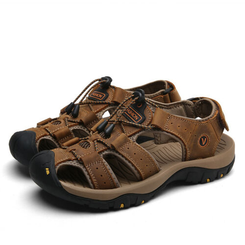 Men/'s Hiking Water Genuine Leather Sandals Closed Toe Holiday Beach Shoes US