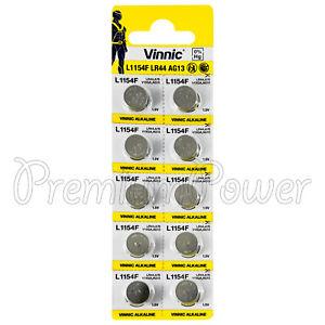 10-x-Vinnic-L1154F-LR44-batteries-Alkaline-1-5V-AG13-G13-FREE-Shipping