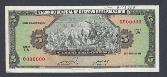 El Salvador 5 Colones 25-8-1983 P134s Specimen Uncirculated