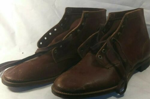 1930s Or 40s Brown Leather Sundial Ankle Lace Up B