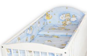 BABY-5PC-BEDDING-SET-ALLROUND-BUMPER-PILLOW-DUVET-COT-120x60-Ladder-Blue
