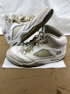 ce43d2595a5b Nike Air Jordan 5 Retro White Metallic Silver 136027-130 Size 8.5 ...