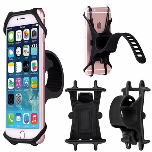 "Silicone Motorcycle Bicycle Black Holder Mount Handlebar For Phone GPS 4-6/"" EN"