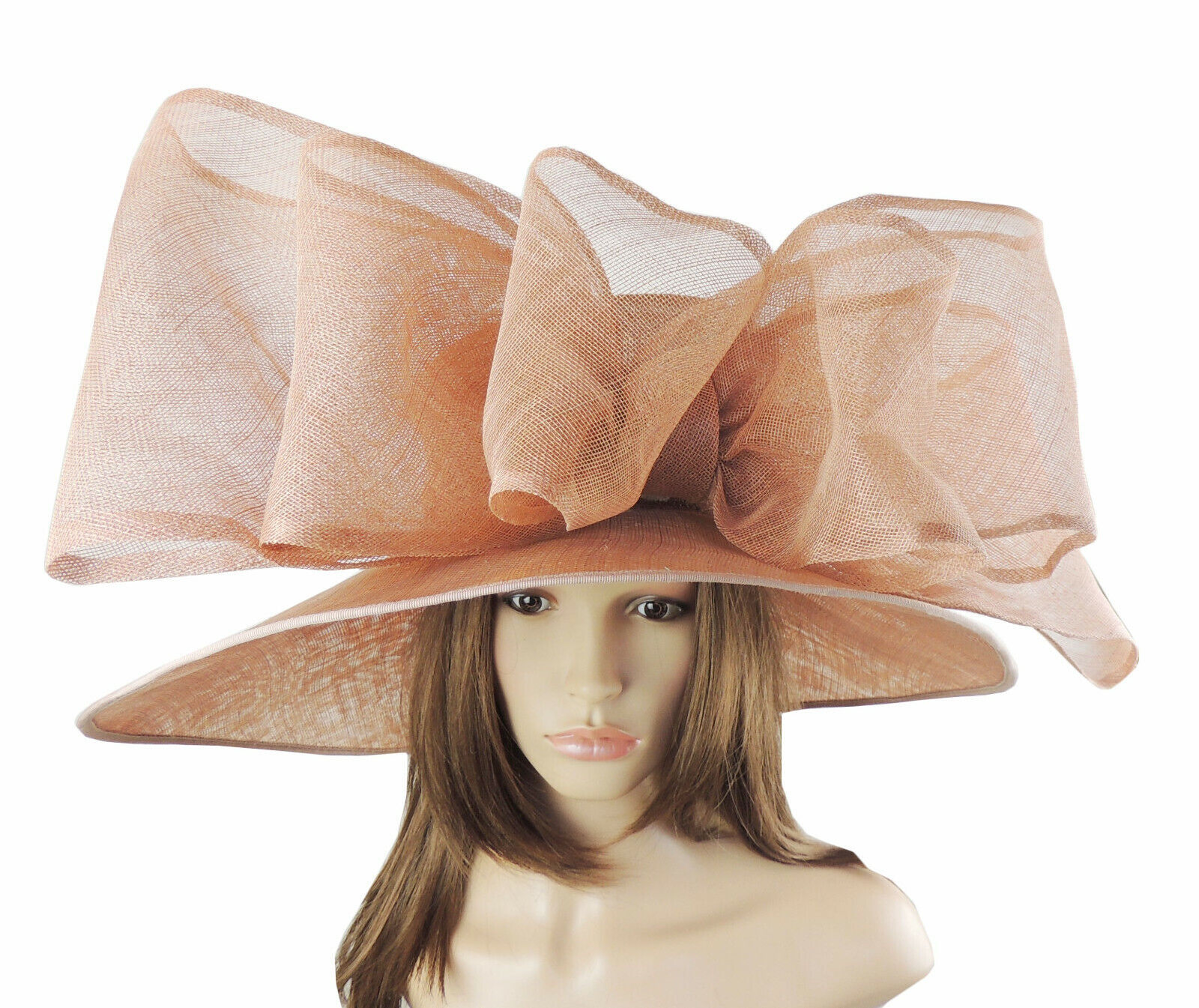 Mink Beige Large Ascot Hat for Weddings, Ascot, Derby in many colors HM3
