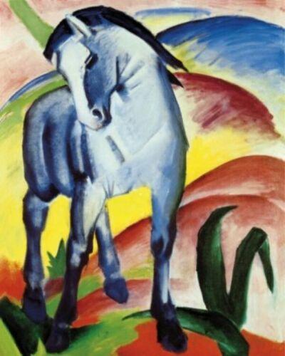 #56518 Blaues Pferd 1911 Poster Leinwand-Druck Bild 50x40cm Franz Marc