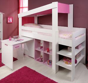 Madchen Kinderbett Hochbett Funktionsbett Rosa Kinderzimmer Bett