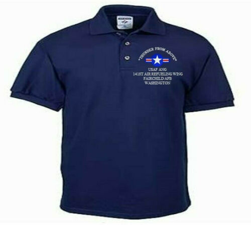 142ND FIGHTER WING*PORTLAND* OR*USAF ANG*EMBROIDERED LIGHTWEIGHT POLO SHIRT