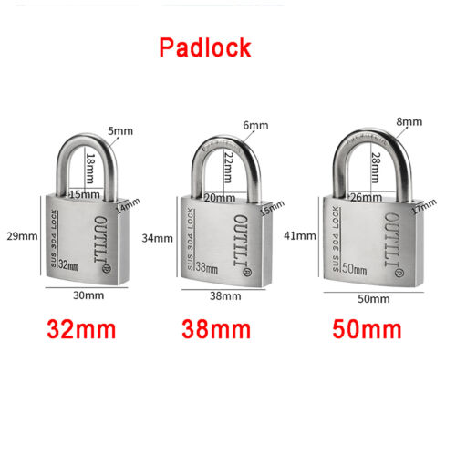 304 Stainless Outdoor Padlock Garage Shed Gate Locker Lock Suitcase Toolbox