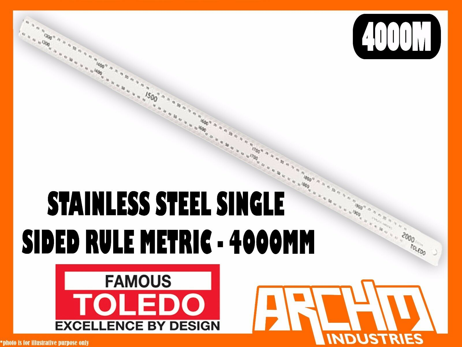 TOLEDO 4000M - STAINLESS STEEL SINGLE SIDED RULE METRIC - 4000MM - NUMERICAL