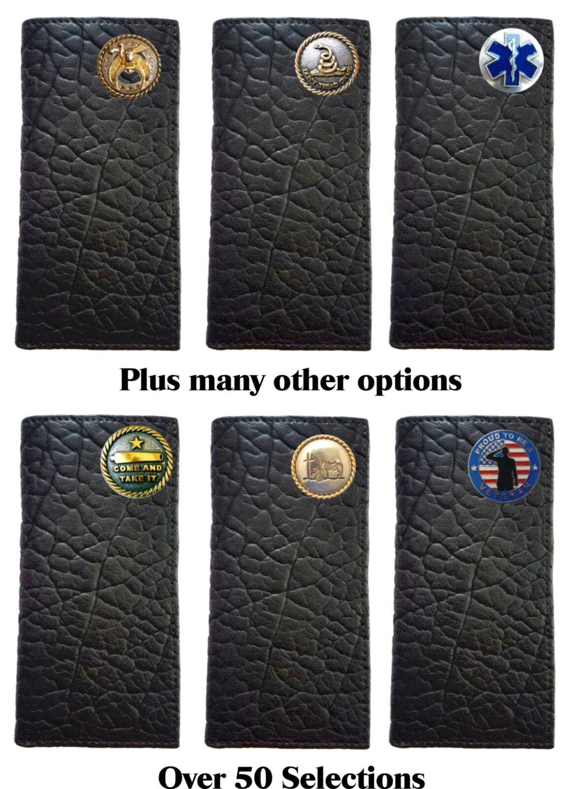 Portefeuille long à carnet de chèques en cuir noir américain robuste et personnalisé.Fabriqué aux Etats-Unis