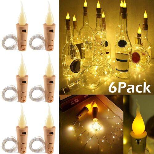 Candle Flame Tealight Wine Bottle 20 LED Light Cork Shape Fairy String Lights