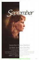 SEPTEMBER MOVIE POSTER Original Rolled 27x41 MIA FARROW WOODY ALLEN 1987