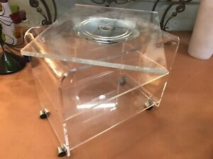 MCM LUCITE SWIVEL TV STAND WITH 2 SHELVES~HEAVY~QUALITY~ACRYLIC