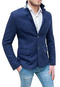 Elegante-giacca-blazer-uomo-Diamond-casual-blu-slim-fit-aderente-da-S-a-XXL