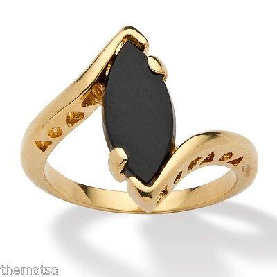 WOMENS 14K GOLD PLATED ONYX BEAUTIFUL HEART SHAPE RING SIZE 5 6 7 8 9 10