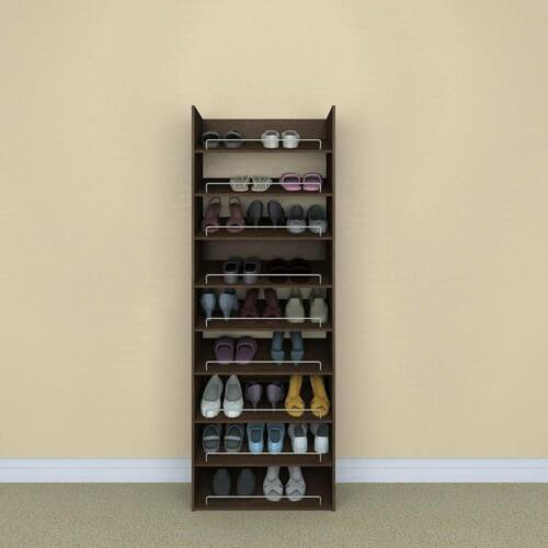 Chocolate 3 Shelf Shoe Organizer Closet Storage Rack Free Standing Space Saver