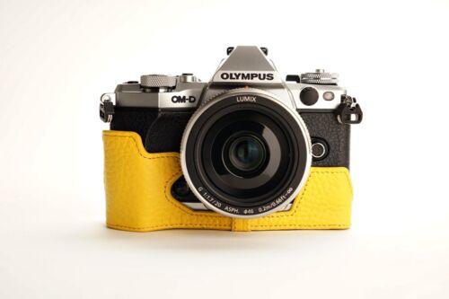 Cámara De Cuero Genuino Real Medio caso bolsa para Olympus OMD EM5 EM5 8 Colores II