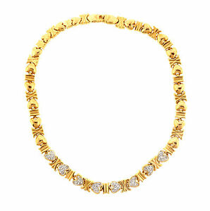 Vintage-Crystal-Heart-Star-Link-Choker-Collar-Necklace-Gold-Tone-signed-M-16-75