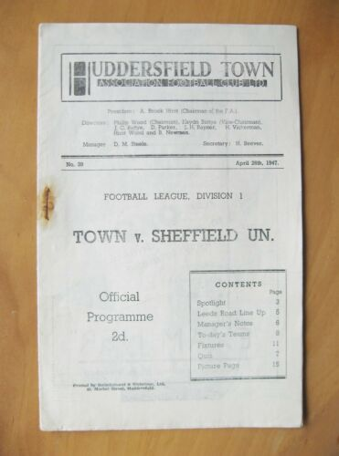 HUDDERSFIELD TOWN v SHEFFIELD UNITED 19461947 Good Condition Football Programme