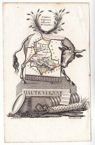 Carte-geographique-XIXe-Departement-Haute-Vienne-Nouvelle-Aquitaine-Vache-1824